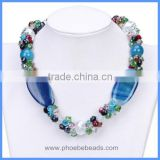 Wholesale New Arrival Handmade Blue Agate Semi Precious Gemstone And Crystal Beads Choker Necklaces GN-DQ025