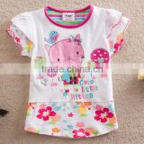 2-6T (S63145#White)Start Kids clothing wholesale summer baby wear kitty cat appliqued t shirt