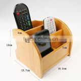 New design International Bamboo Box Storage &Bin with divided 4 sections phone stand desk organizer