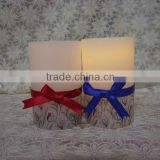 Elegant ribbon battery operated LED wax candles