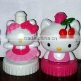 promotional 3D cartoon figurine Hello Kitty bottle caps for kids