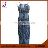 1683602 Newest Women Summer Sleeveless India Style Paisley Pattern Backless Maxi Tube Dress