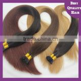 Grade AAAAAA hot sale ombre color/two tone virgin human hair stick/i tip hair extensions