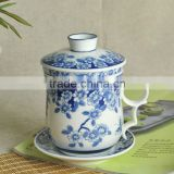 blue and white tea cup and saucer stands