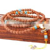 Rudraksha beads 108 Mala Beads with Elastic Thread Nylon Cord Synthetic Turquoise Resin antique silver color plated