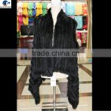 Long vest genuine knitted real black rabbit fur cardigan vest for women