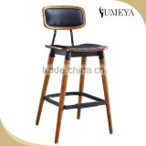 Commercial furniture steel frame bistro chair solid plywood seat and back wood legs bistro chair