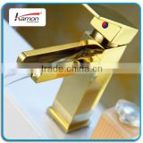 Single Handle Gold Basin Mixer Waterfall Tap