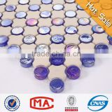 Iridescent blue round glass Clear mosaic unglazed ceramic mosaic tiles ceramic mixed glass mosaic