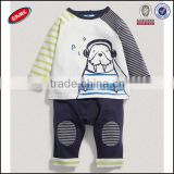 high quality autumn printed baby clothes set with two different color stipy raglan long sleeve