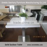 2015 Top quality wholesale solid surface table , acrylic solid surface table top with stainless steel table base