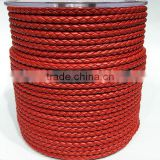 3mm red round real cowhide leather cord for bracelet and necklace making