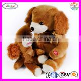 A919 Brown Dog & Baby Set Doll Stuffed Plush Press Button Baby Learning Electronic Baby Doll