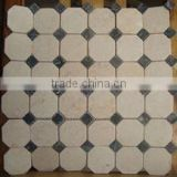 Irregular Brick Type Natural Grey Wood Vein Marble Mosaic