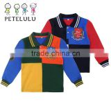 Guangzhou Factory Children Boys Long Sleeved Polo Shirt Wholesale Kid Tops Tees Uniforms