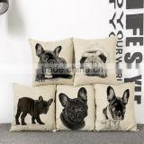 45*45CM Funny Lovely Animal Dog Pattern Office Cushion Pillow Cover Cotton Linen Decorative Pillows Pillowcases Covers 5 Types