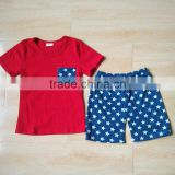 Newest pattern July 4th boys outfits baby/kids casual cotton T-shirt&short summer baby/kids boutique clothing bluk wholesale