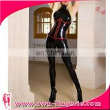 Wholesale sensual wet look cheap black latex catsuit faux leather clubwear catsuit