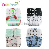 Elinfant baby cloth diapers printed with flexible tab manufacturer cloth diaper fabric