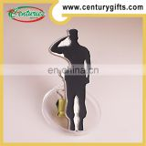 Kunshan cheap silver metal bottle opener coin,people shape and the theme of salue, custom designs&size are accepted
