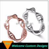 Custom alloy Rose gold /Gold /Silver DNA hollow-out ring Spiral personality molecules boys finger rings