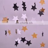 1set Paper Star Banner Garlands 2M Birthday String Chain Banner Ornaments Curtain Wedding Party Room Decor Supplies