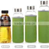 Single wall hot selling glass water bottles factory glass sparkling water bottle