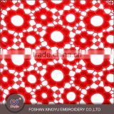 Wholesales woolen red/pink/blue laser embroidery design nets flower geometry style lace fabric