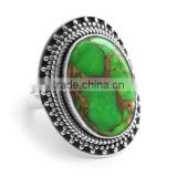 Heart To Heart Green Copper Turquoise 925 Sterling Silver Ring