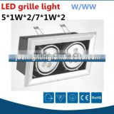 Modern high power recessed mounted led ceiling spotlight 14 watts, 2x7W led office grille light 2x5W 10W