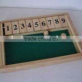 wooden shut the box ,funny wooden game set ,board game set