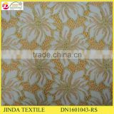 2016Hot Selling Soft Gold Spandex Golden Design Lace For African Market