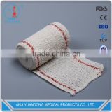 YD-3002 Hot Factory High Quality Elastic Cotton Crepe Bandage ( red/bule line) with ISO&FDA
