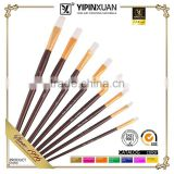 8Pcs Flat Nylon Hair 24k Gold Plated Circle Black Wood Handle Wholesale Artist Paint Brush Set