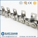 Heat-resistant stainless steel roller chain 40SS with WA1 Attachments