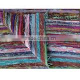 Hand loomed Rag Rug, Floor Mat, yoga mat , Vintage Throw, Chindi Durrie Carpet hand made in India