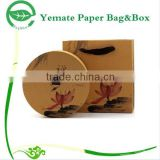 high level hardcover round tea packaging box, printed elegant design paper tea box and carrier bags