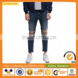 Men Custom Apparel Skinny Cropped Jeans Ripped Denim Pants With Extreme Rips In Blue Wash