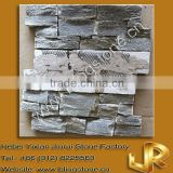 grey quartzite rough stacked interlock slate stone with mesh backing for wall decoration