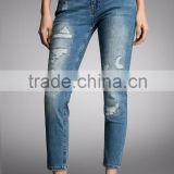2016 new style girls skinny pencil ankle denim jeans pants 3/4 frayed distessed trousers wholesale ripped pattern woman jean