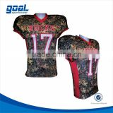 100%polyester standard fit breathable camo customized sublimation American football jersey