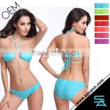 2016 Women Low Scoop Neckline Swimsuit Sexy Backless Bikini