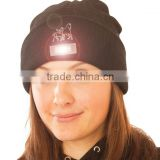 Winter Acrylic Knitted Custom LED Light Beanie Cap Led Lighted Hats And Caps