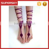 V-995 Foot Jewelry Crochet Cotton Barefoot Sandals Beach Bridal Handmade Bracelet Anklet Chain