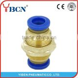 Pneumatic Air Tube Pipe Fitting PM 4mm-4mm Bulkhead Straight Union Push In Quick Fitting Connector