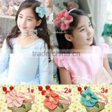 JF0103 Wholesale chiffon mesh lace flower hair accessories kids fancy flower headband 2015
