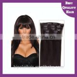 Cheap Double Drawn Black Hair 100% Human Hair Clip In Hair Extensions For African American