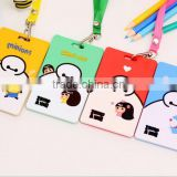 cartoo big hero Minions Doraemon bank business card cover silicone passport case bus school ID card holder with lanyard rope