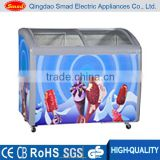 curved glass sliding door ice cream display commercial chest freezer