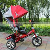 three wheels kids tricycle red color steel frame children tricycle baby walker with protect bar